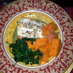 Cod,sweet potatoes,spinach