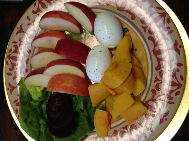 Hard boiled Eggs squash and Apples
